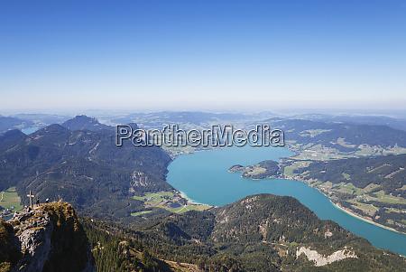 idyllic shot of lake and mountains