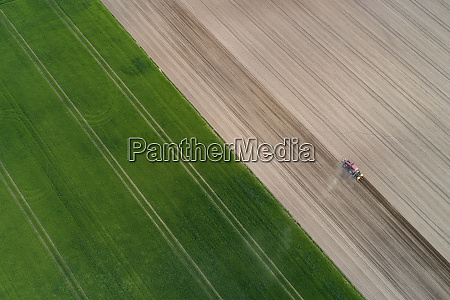 aerial view of tractor in agricultural