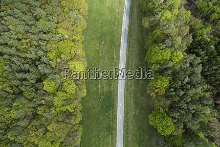 aerial view of rural road with