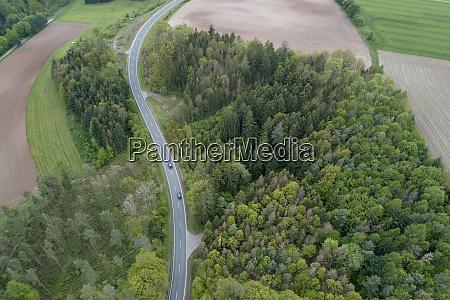 aerial view of rural road through
