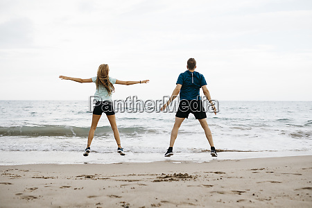 young couple during training on the