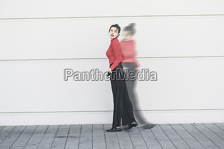 digital composite of young woman moving