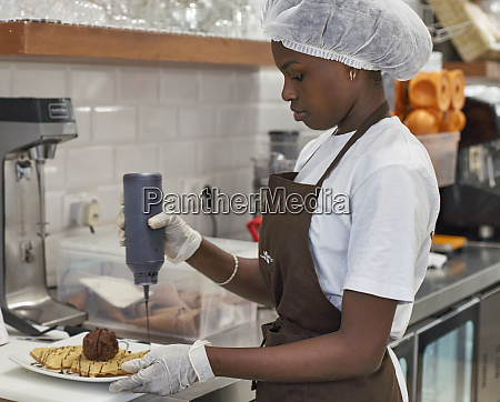 young woman working in ice cream