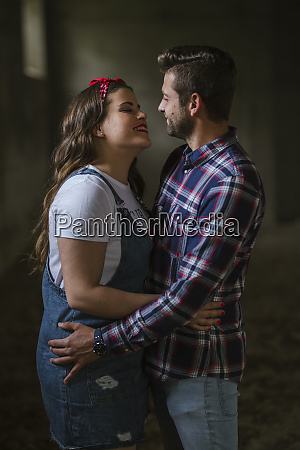 young couple caressing each other