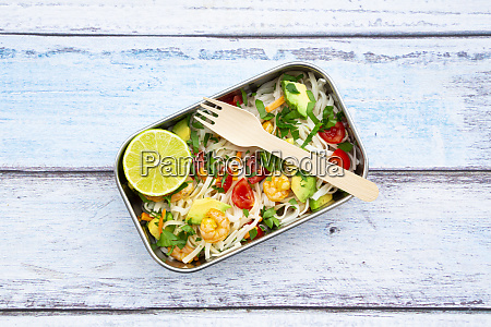 lunch box with fresh colorful noodle