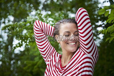 portrait of happy woman with wet