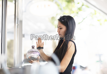young woman shopping contactless payment with