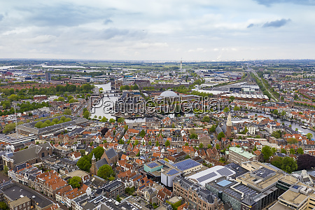 aerial view of haarlem city against