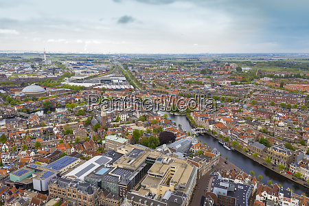 aerial view of leiden city against