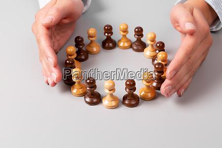 team concept leadership concept womans hands