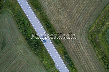 aerial view of a road with