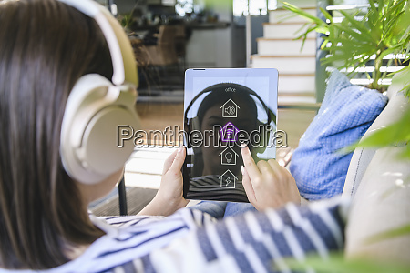 young woman with tablet awith smart
