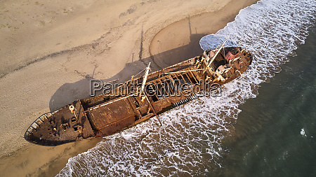 aerial view of a shipwreck at
