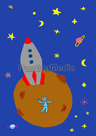 childs drawing of astronaut with rocket