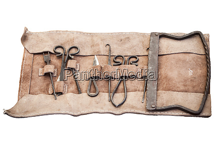 medieval surgery doctors tools in leather