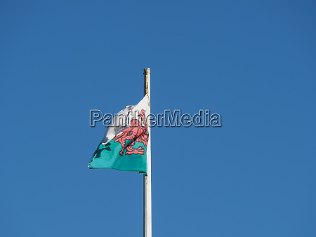 welsh flag of wales over blue