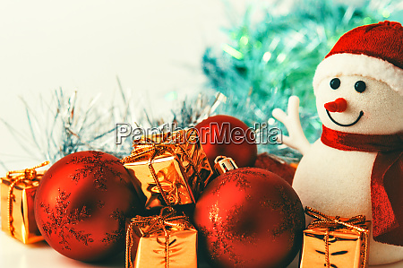 snowman christmas red balls and gifts