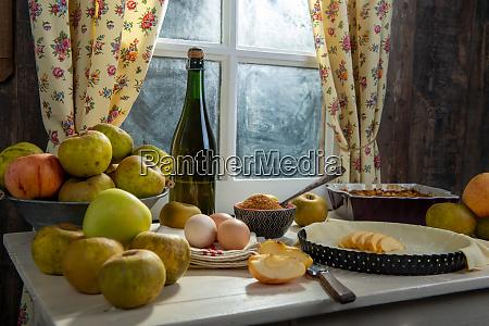 ingredients for apple pie apples eggs