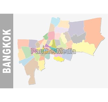 colorful bangkok administrative and political map