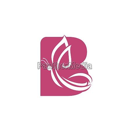 butterfly letter b vector logo design