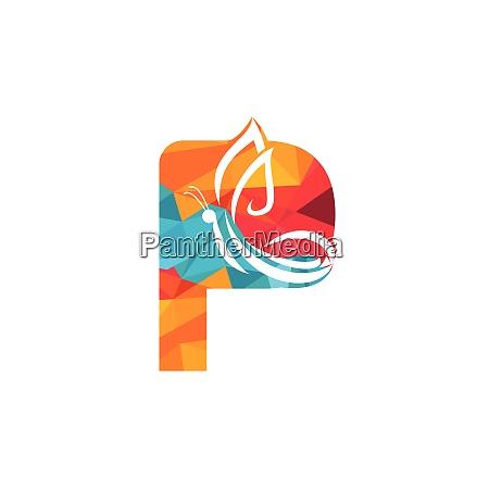 butterfly letter p vector logo design