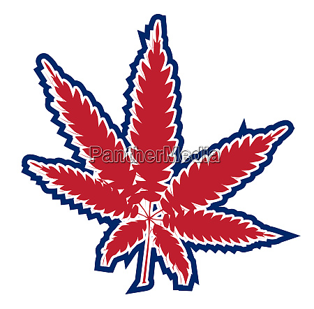 red white and blue marijuana leaf