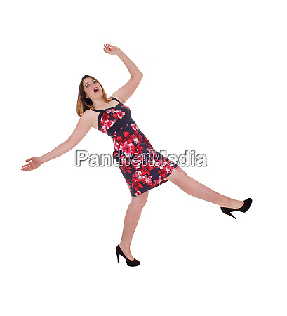 woman falling backwards in a colorful