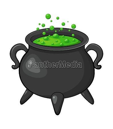 witch cauldron poison green brew isolated