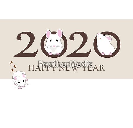 new year card with cute mice
