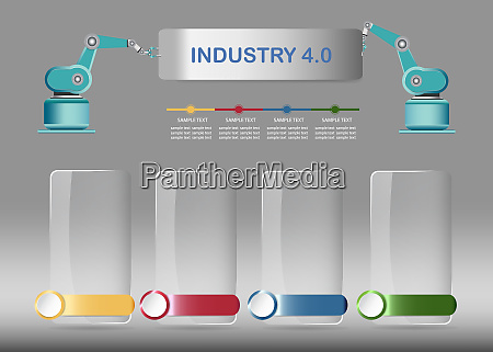 industry 40 infographics vector with glass