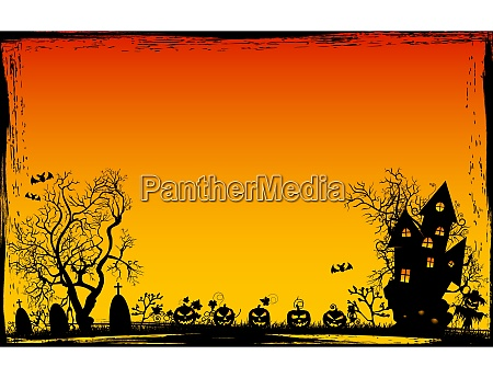 grunge frame halloween background night scene