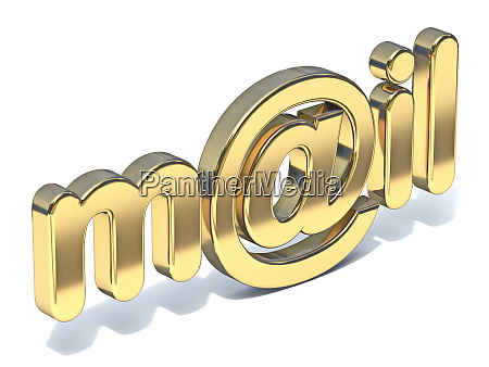 golden word mail with at sign