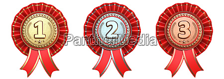 medals with red ribbons 3d