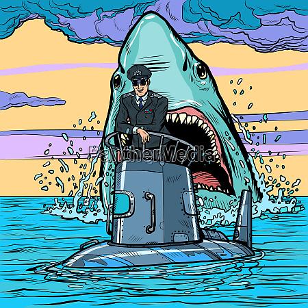 captain of the submarine shark attack