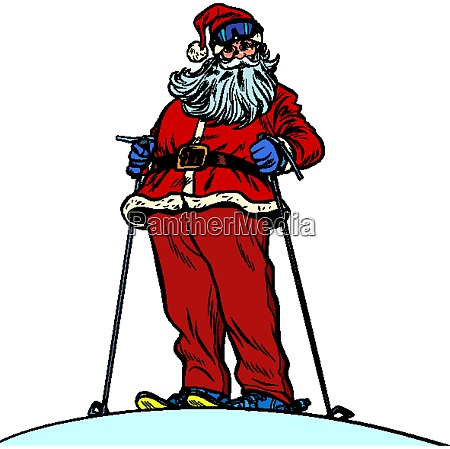 santa claus character on snow mountain