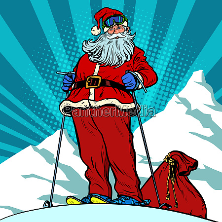 skier in the mountains santa claus