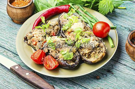 halved baked eggplant