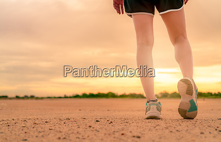 woman runner wear sport shoes and