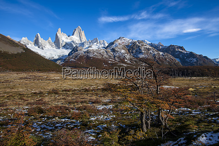 typical autumnal patagonian landscape with mount