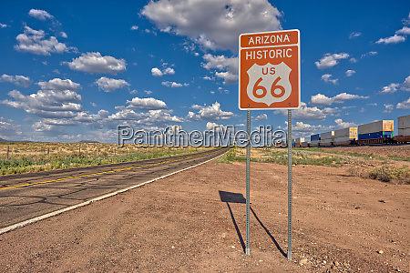 road sign marking historic route 66