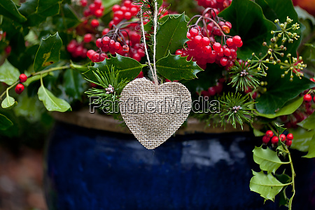winterly decoration in blue pot