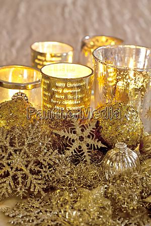 elegant golden christmas decoration with candlelight