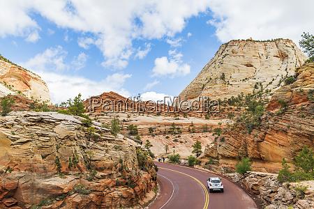 driving through zion national park utah