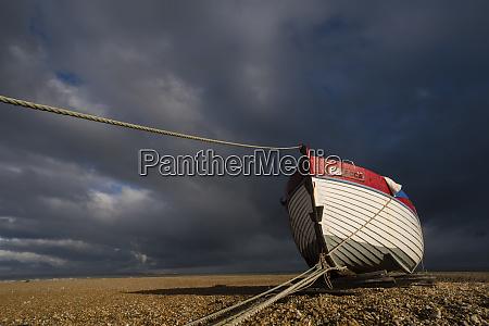 boat on shingle beach dungeness kent