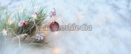 christmas decoration in a snow landscape