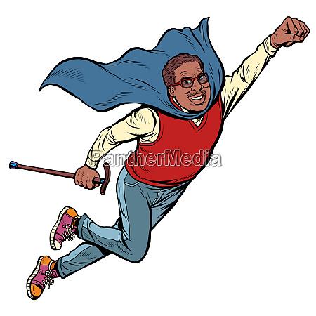 african man retired superhero health and
