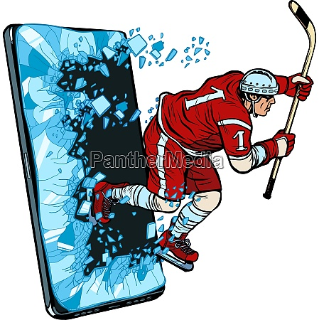 hockey player phone gadget smartphone online