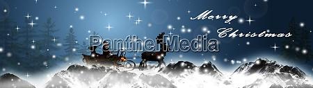 santa claus with sleid and reindeers