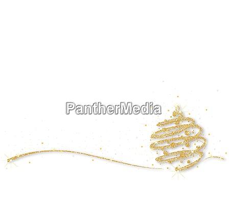 gold glittering xmas ball on white