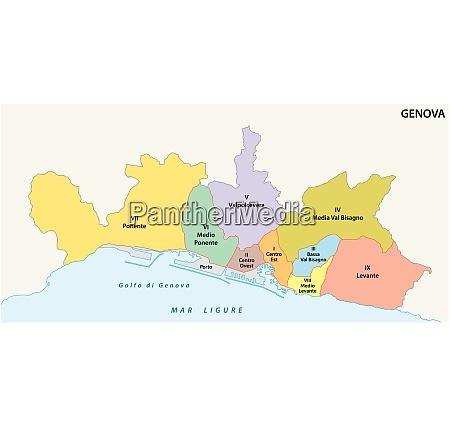 administrative map of the ligurian capital